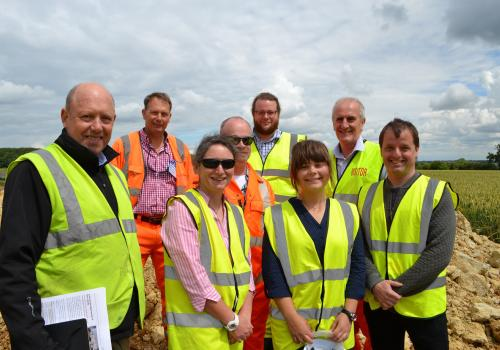 The Cranfield University team of Dr Lynda Deeks, MSc student Karolina Golicz and Dr Mark Pawlett, right, are pictured at Grange Top quarry with, from left, international jury member Richard Grimmet and UK judges Andy Duncan (Hanson), Nigel Symes (RSPB), R